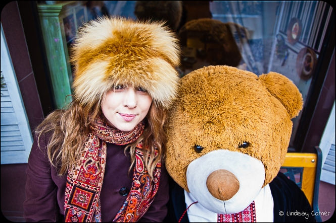 me & the giant teddy bear in Kyiv, Ukraine.