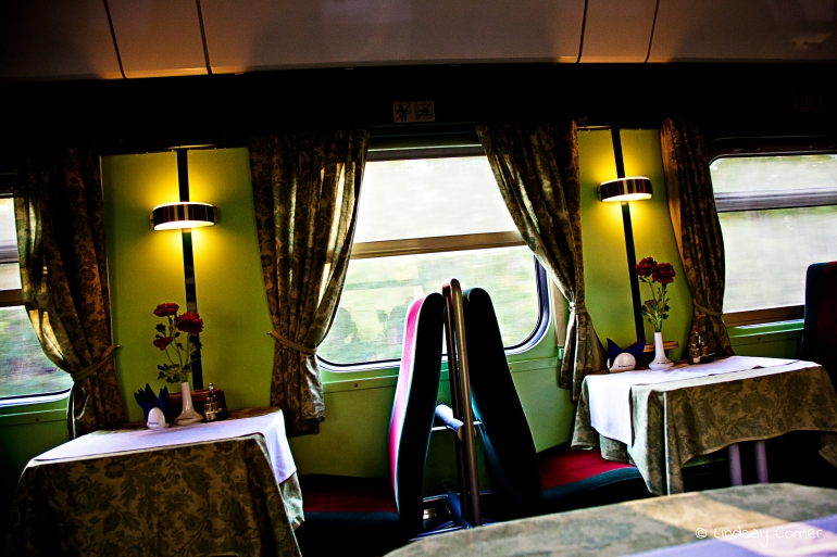 Cafe car on board the train from Lithuania to Russia.