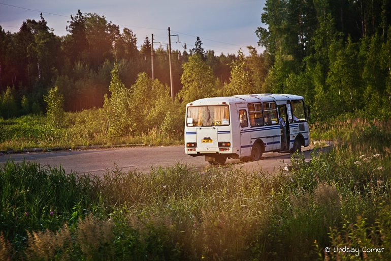 An Avtobus somewhere along the way from Lithuania to Russia.