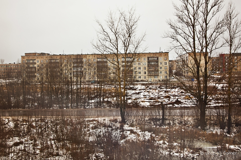 Soviet era apartment building in winter; on the way to Murmansk.