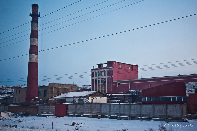 Industrial buildings on the way to Murmansk.