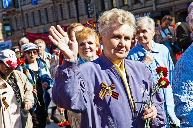 Russian woman marching in the Victory Day Parade, Saint Petersburg, Russia.