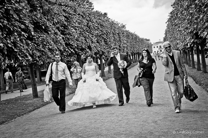 Newlyweds; the modern Russian family; Peterhof, Saint Petersburg, Russia.