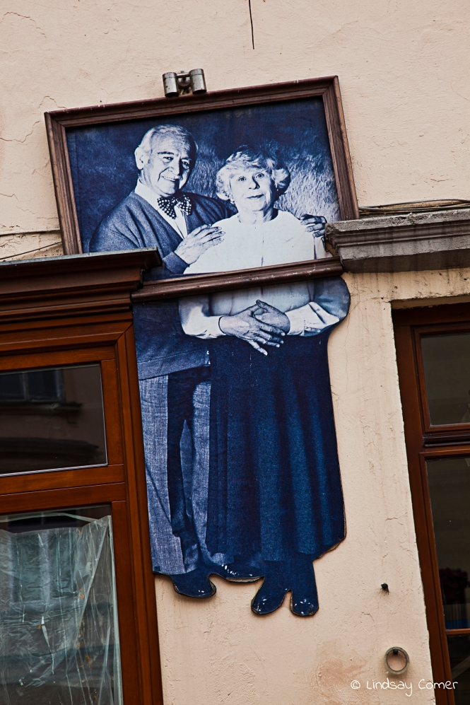 Portrait wall art in Uzupio, Vilnius, Lithuania.