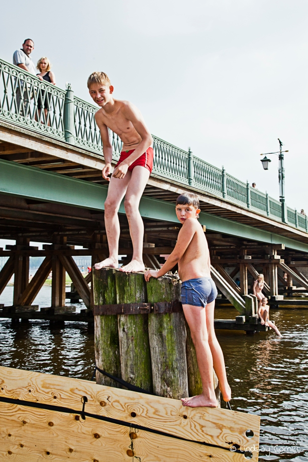 Swimming in the river in summer, by Zayachiy Ostrov; Saint Petersburg, Russia.