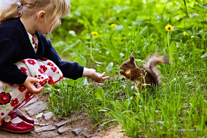 the little girl feeding the squirrel at Pavlovsk Park.