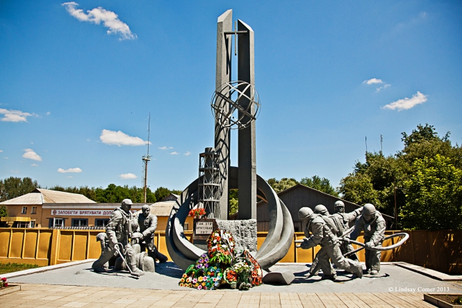 a monument  to the volunteers and firefighters who stopped the Chernobyl disaster from becoming worse.