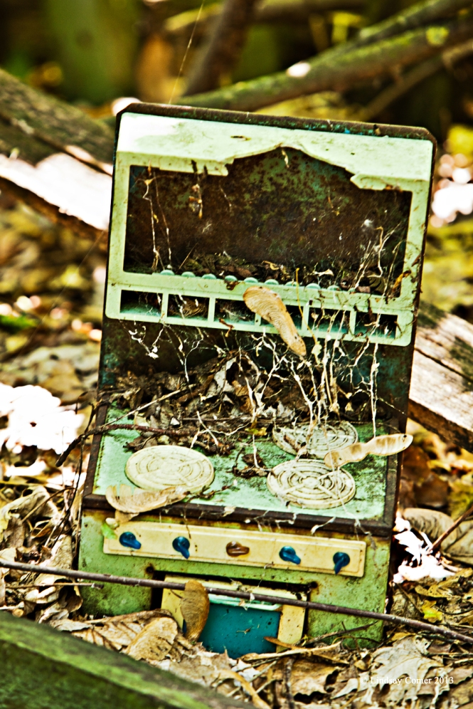 old toy oven outside the abandoned children's school.