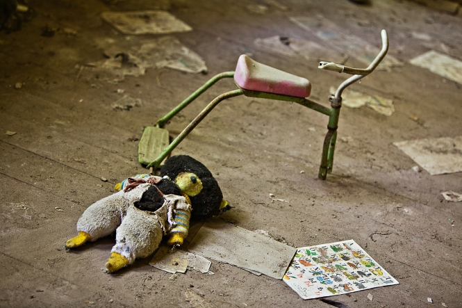 Inside the abandoned children's school in Chernobyl, Ukraine.
