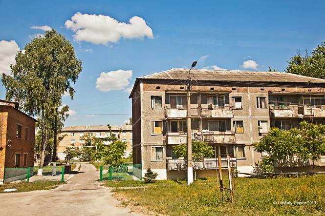 inhabited apt. buildings in Chernobyl town.