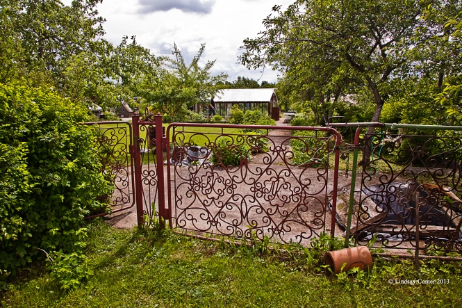 the gate entrance to our dacha property.