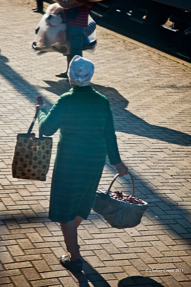 woman selling her pastries at a long train stop on the way to Kiev (I believe it was either Bryansk or Suzemka).