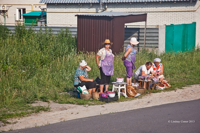 vendors on the side of the road; on the bus on the way home from Chernobyl.