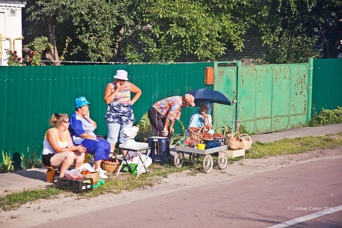 more vendors on the side of the road; on the bus on the way home from Chernobyl.