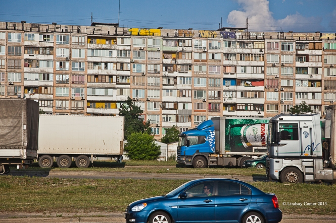 block style housing; on the bus - approaching Kiev city limits.