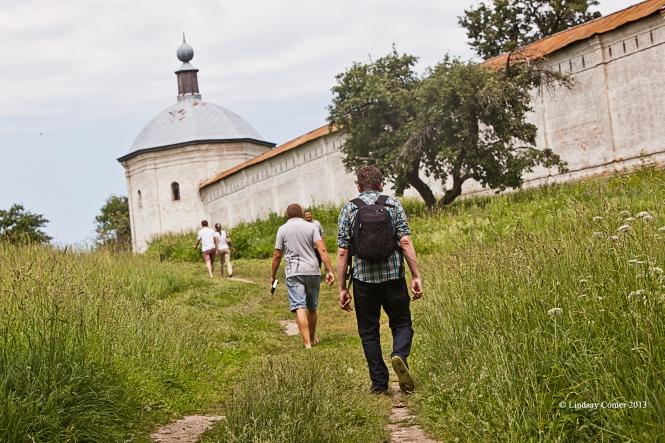 walking outside the Svensky Monastery; Bryansk.