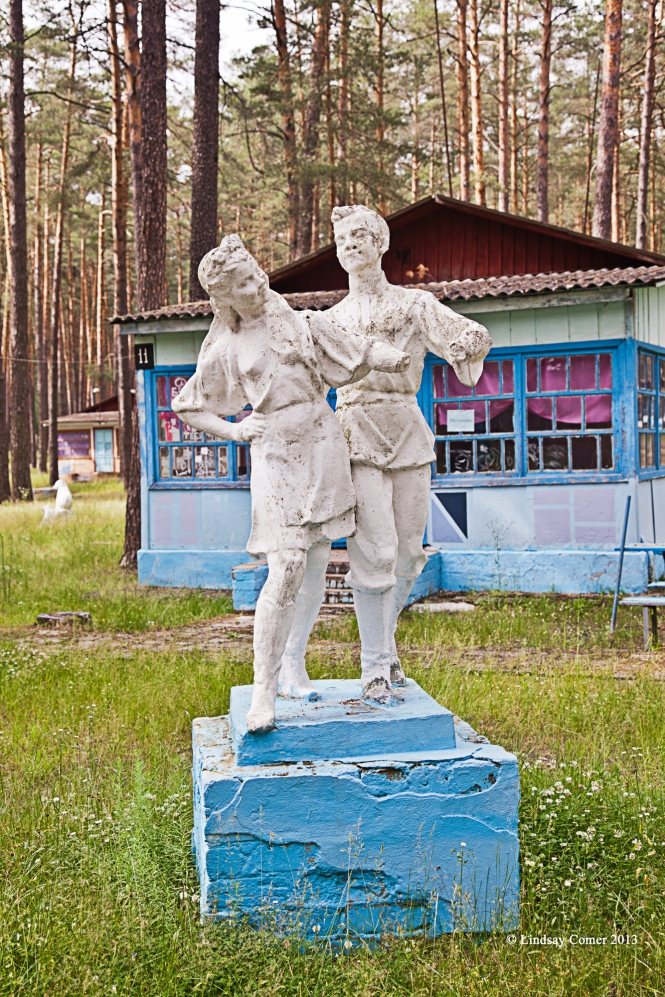 an old Soviet statue at the camp grounds.
