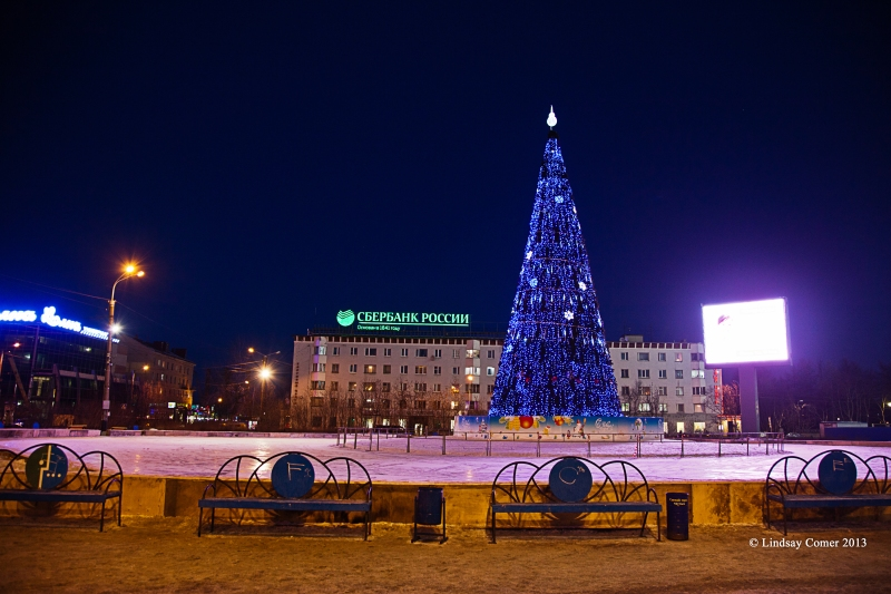 the New Year tree in the center of Murmansk, Russia, just after Christmas; this photo was taken at 11:30 a.m.