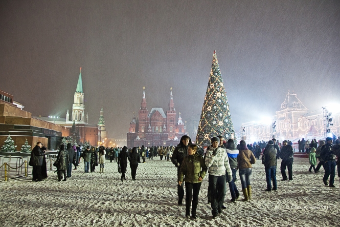 Red Square, Moscow, Russia; snowing in Red Square, just after New Year, 2012.