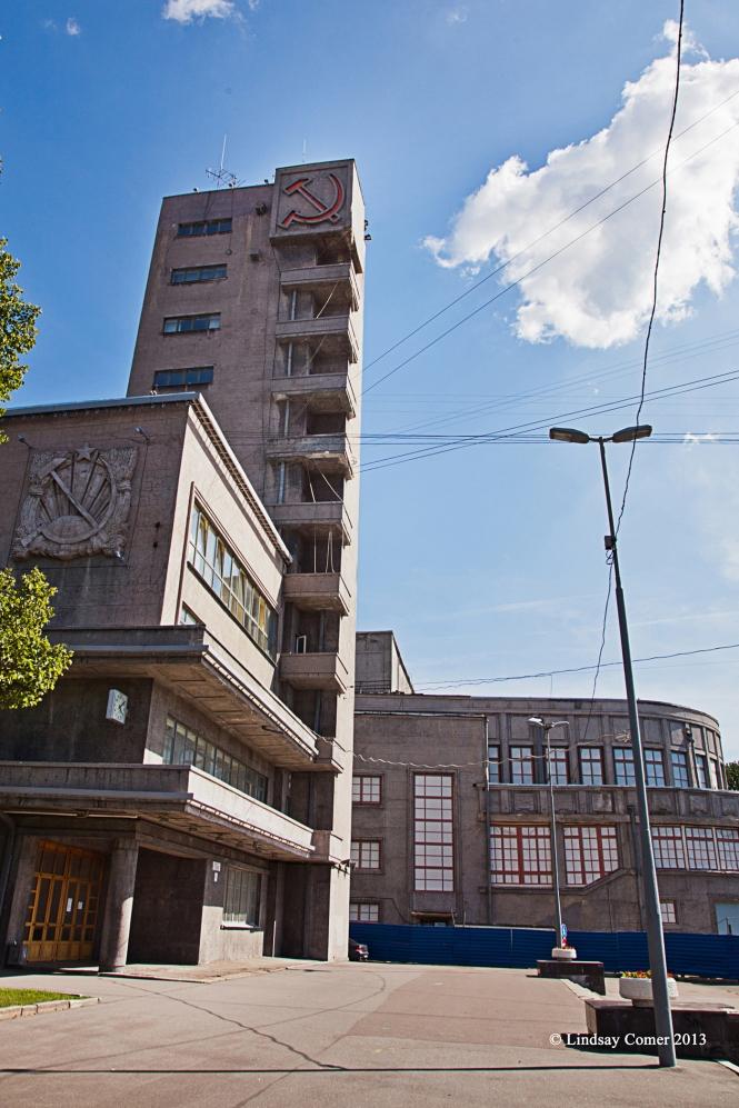 """an old building on ulitsa Shvetsova, in the """"Soviet"""" area of Saint Petersburg between metro stops Narvskaya and Avtovo."""